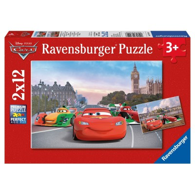 Ravensburger-07554 2 Puzzles - Cars in Paris and in London