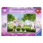 Ravensburger-07562 2 Puzzles - The Magical World of Cinderella
