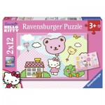 Ravensburger-07563 2 Puzzles - Hello Kitty