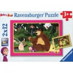 Ravensburger-07585 2 Jigsaw Puzzles - Masha and The Bear