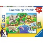 Ravensburger-07602 2 Jigsaw Puzzles - Animals in the Zoo