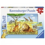 Ravensburger-07606 2 Jigsaw Puzzles - Elefant, Lion & Co.