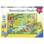 Ravensburger-07610 2 Jigsaw Puzzles - Animals in Our Garden