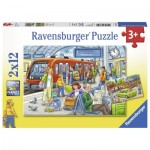 Ravensburger-07611 2 Puzzles - Please get in!