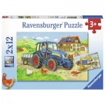 Ravensburger-07616 2 Puzzles - Construction Site and Farm