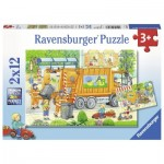 Ravensburger-07617 2 Puzzles - Garbage Disposal & Sweeper
