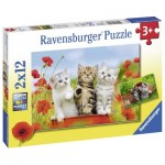Ravensburger-07626 2 Puzzles - Kittens