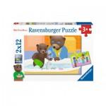 Ravensburger-07628 2 Puzzles - Little Brown Bear