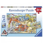 Ravensburger-07630 2 Puzzles - Construction Site