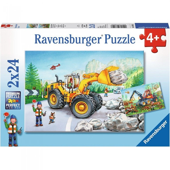 2 Jigsaw Puzzles - Excavators and Forest Tractor