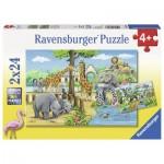Ravensburger-07806 2 Jigsaw Puzzles - Zoo