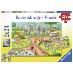 Ravensburger-07813 2 Jigsaw Puzzles - A Day in the Zoo