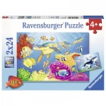 Ravensburger-07815 2 Jigsaw Puzzles - Colorful Underwater World