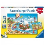 Ravensburger-07829 2 Puzzles - Holidays at the Sea