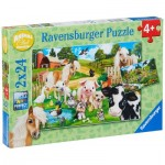 Ravensburger-07830 2 Puzzles - Farm Animals