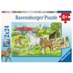 Ravensburger-07833 2 Puzzles - Horses