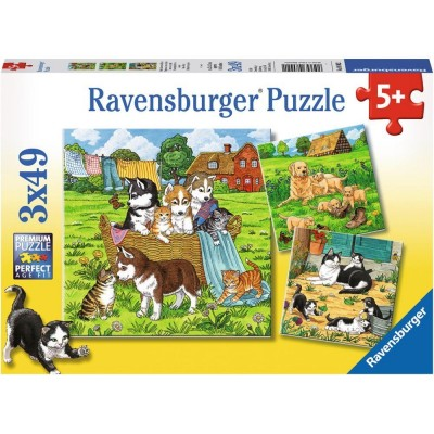 Ravensburger-08002 3 Jigsaw Puzzles - Cats and Dogs