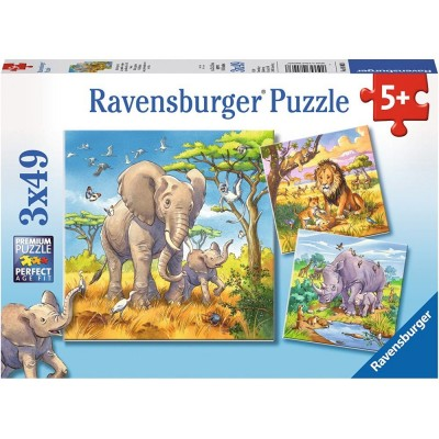 Ravensburger-08003 3 Jigsaw Puzzles - Wild Giant