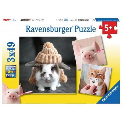 Ravensburger-08028 3 Puzzles - Funny Animal Portraits