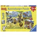 Ravensburger-08042 3 Puzzles - Mauseschlau and Bärenstark