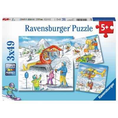 Ravensburger-08052 3 Puzzles - On the Ski Slope