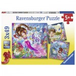 Ravensburger-08063 3 Puzzles - Mermaids