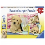 Ravensburger-08065 3 Puzzles - Puppies