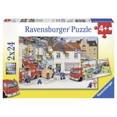Ravensburger-08851 2 puzzles - Road Accident and fire in city
