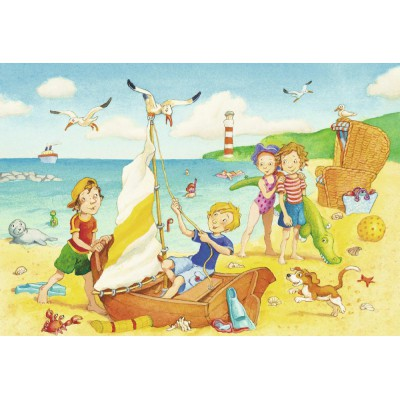 Ravensburger-08880 2 Puzzles - Children at the Beach