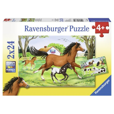 Ravensburger-08882 2 puzzles - The world of the horse