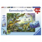 Ravensburger-08890 2 Puzzles - Dinosaurs: Primitive Giants mountains