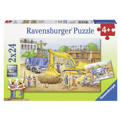 Ravensburger-08899 2 Puzzles - On the Work-site BTP