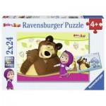 Ravensburger-09046 2 Jigsaw Puzzles - Masha and the Bear