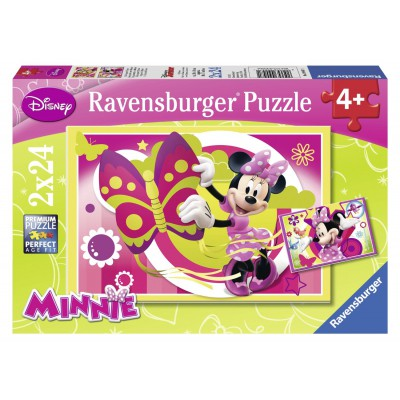 Ravensburger-09047 2 Puzzles - A Day with Minnie