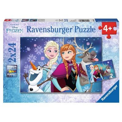 Ravensburger-09074 2 Puzzles - Disney: Frozen
