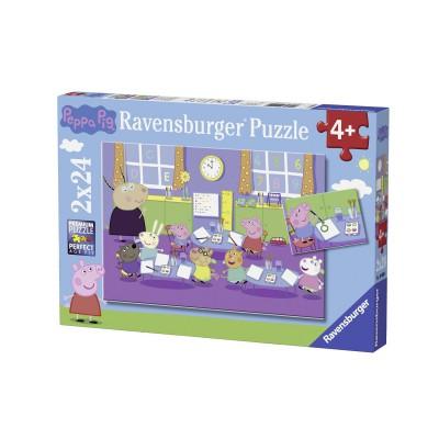 Ravensburger-09099 2 Jigsaw Puzzles - Peppa Pig