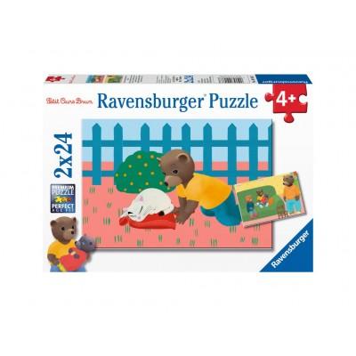 Ravensburger-09186 2 Puzzles - Little Brown Bear