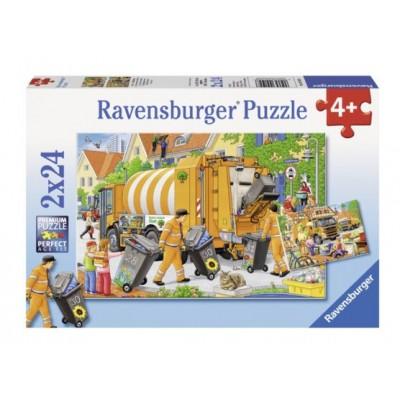 Ravensburger-09192 2 puzzles - garbage trucks