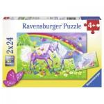 Ravensburger-09193 2 Puzzles - Rainbow Horses