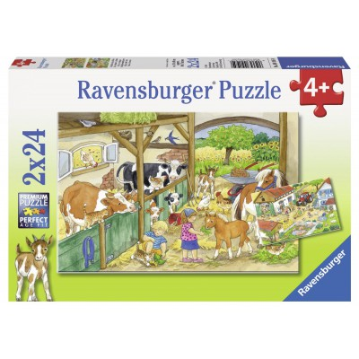 Ravensburger-09195 2 puzzles - Day at the farm