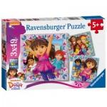 Ravensburger-09212 3 Jigsaw Puzzles - Dora