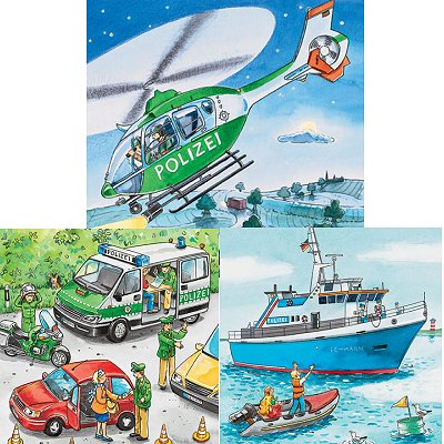 Ravensburger-09221 Jigsaw Puzzles - 49 Pieces - 3 in 1 - Police Forces