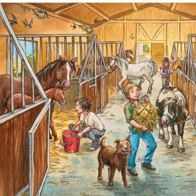 Ravensburger-09237 Jigsaw Puzzle - 3 x 49 Pieces - Welcome to Riding School
