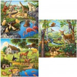 Ravensburger-09265 Jigsaw Puzzle - 3 x 49 Pieces - Wild, Pet and Zoo Animals