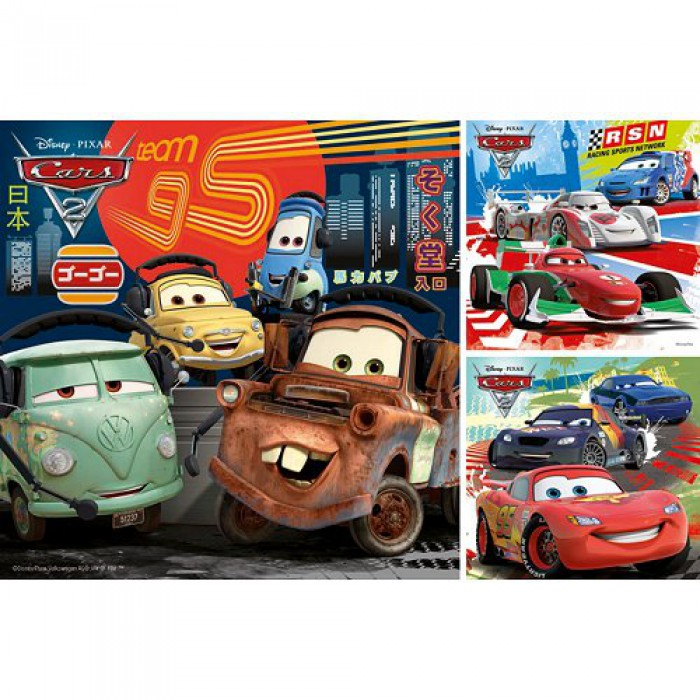 Jigsaw Puzzle - 3 x 49 Pieces - Square - Cars 2 : Race Around the World