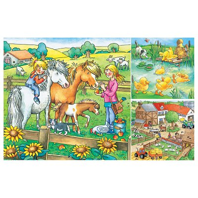 Ravensburger-09293 Jigsaw Puzzles - 49 Pieces each - 3 in 1 - Farm Animals