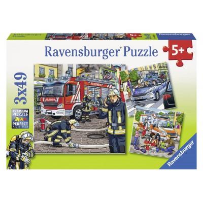 Ravensburger-09335 3 Puzzles - The Rescue