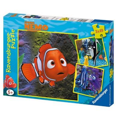 Ravensburger-09371 Jigsaw Puzzles - 49 Pieces - 3 in 1 - Nemo in the Aquarium