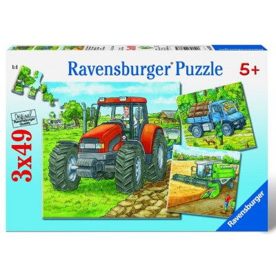 Ravensburger-09388 Jigsaw Puzzles - 49 Pieces - 3 in 1 - Agricultural Engines