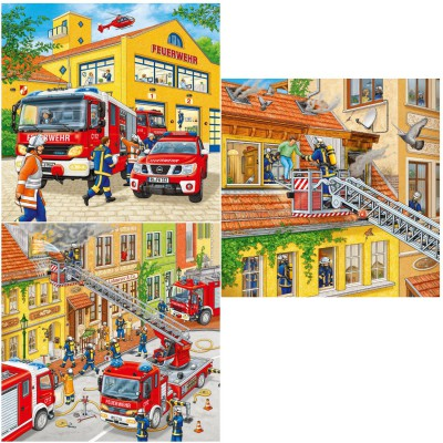 Ravensburger-09401 Jigsaw Puzzle - 3 x 49 Pieces : Firemen at Work
